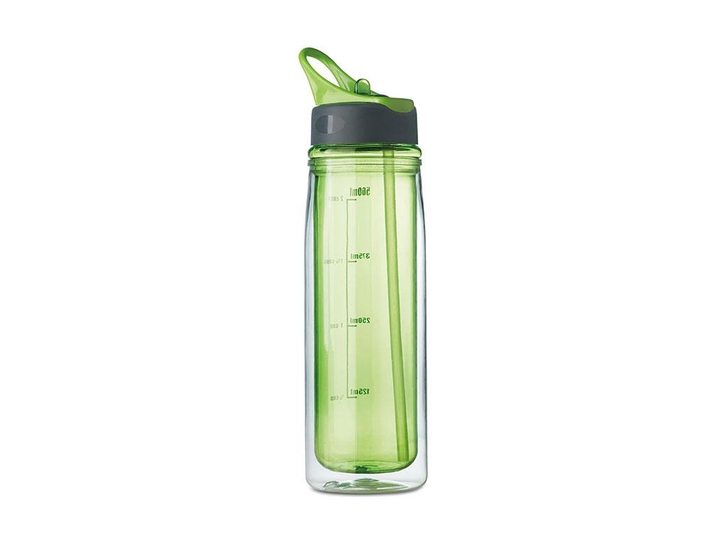 Kulacs 550 ml, duplafalú,  összehajtható szívószállal, neon zöld